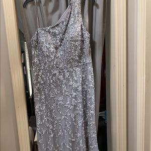 Size 16 Adrianna Papell silver sequined gown.